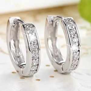 Cubic Zirconia Sterling Silver Small Hoops